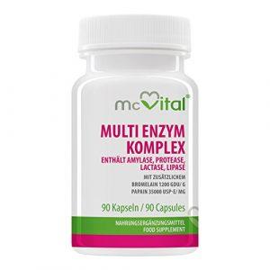 Multi Enzym Komplex – enthält Amylase, Protease, Lactase, Lipase – mit zusätzlichem – Bromelain 1200 GDU g – Papain 35000 USP-E mg – 90 Kapseln