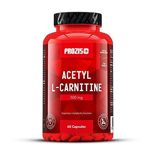 Prozis 100% Acetyl L-Carnitin Kapseln 500mg - Qualitativ hochwertiges Aminosäure-Ergänzungsmittel für Gewichtsverlust, Steigerung der geistigen Leistung und Energie - 60 Kapseln!