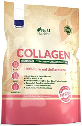 Kollagen Protein Pulver 600g Hochwertiges, geschmacksneutrales Kollagen Hydrolysat aus reinem 100% Rinderkollagen Hydrolysat in einer wiederverschließbaren Packung von Nu U Nutrition