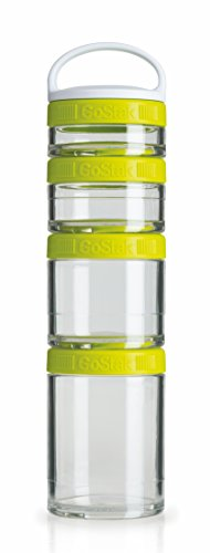 BlenderBottle GoStak Container zum Aufbewahren von Protein| Eiweiß| Pulver| Vitaminen & mehr -Starter 4Pak inkl. Henkel grün (150ml, 100ml, 60ml & 40ml)