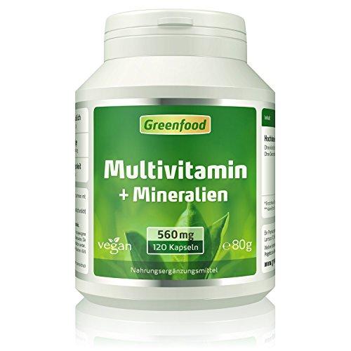 Multivitamin + Mineralien, 560 mg, hochdosiert, 120 Vegi-Kapseln – alle wichtigen Vitamine (Tagesbedarf), Mineralien und Spurenelemente. Mit hoher Bioverfügbarkeit. OHNE künstliche Zusätze. Vegan.
