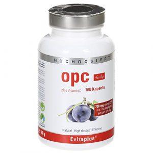 OPC DAILY Traubenkernextrakt – 160 hochdosierte, vegane OPC Kapseln 700 mg reines OPC pro Tag + 20 mg Vitamin C – 100% natürliches Antioxidans – Premiumqualität Deutscher Herstellung