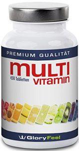 Multivitamin Tabletten Hochdosiert – Der VERGLEICHSSIEGER 2018* – 450 Vegane Vitamin-Tabletten – Alle Wertvollen A-Z Vitamine und Mineralstoffe in einer Tablette – 15 Monate Vitamin-Versorgung – Nahrungsergänzung von GloryFeel