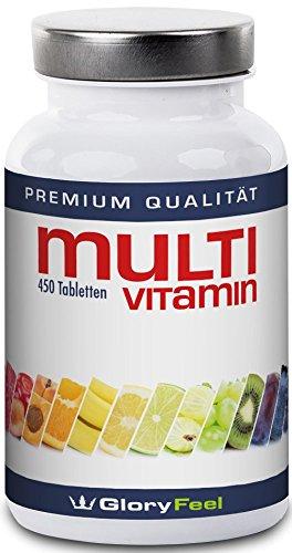 Multivitamin Tabletten Hochdosiert - Der VERGLEICHSSIEGER 2018* - 450 Vegane Vitamin-Tabletten - Alle Wertvollen A-Z Vitamine und Mineralstoffe in einer Tablette - 15 Monate Vitamin-Versorgung - Nahrungsergänzung von GloryFeel