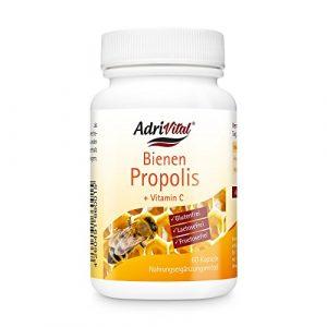 Propolis Extrakt 4:1 von AdriVital I 60 Stück Propolis Kapseln mit Vitamin C I Bienen-Kittharz Nahrungsergänzungsmittel Bienenharz Bienen Propolis I vegan glutenfrei laktosefrei fructosefrei
