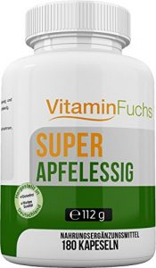 Apfelessig Kapseln natürlich und hochdosiert. Ideal bei der Stoffwechsel Kur. Apfelessig Deluxe – 180 Kapseln von VitaminFuchs