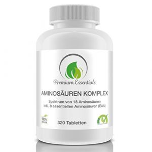 Aminosäuren-Komplex, 320 Tabletten á 1000mg (vegan), hochdosiert für 40 Tage, Alle 18 Aminosäuren inkl. aller 8 essentiellen Aminosäuren, hergestellt in Deutschland