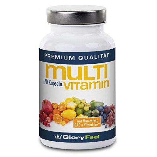 GloryFeel Multivitamin Kapseln Hochdosiert | Vitamine A-Z mit wichtigen Mineralstoffen + Coenzym Q10 | 70 Vegane Kapseln Multi-Vitamin Multimineral Komplex