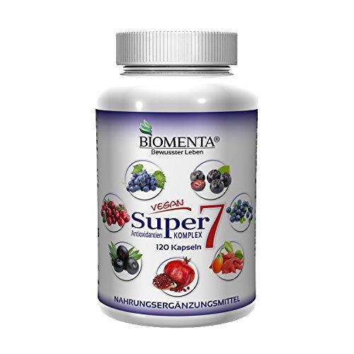 BIOMENTA SUPER7 – ANTIOXIDANTIEN KOMPLEX | mit OPC-Traubenkernextrakt + Cranberry + Goji + Aronia + Granatapfel + Acai + Heidelbeeren | 120 Kapseln | 2 Monatskur | VEGAN