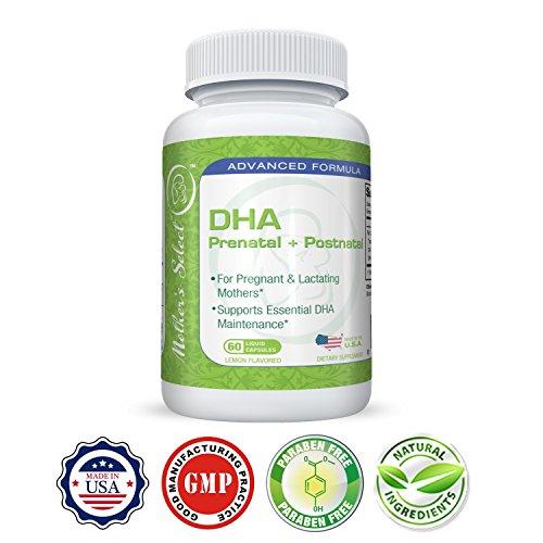 Pränatales DHA - Mother's Select DHA Pre-Natal - EPA Fischöl, 60 Softgelkapseln, Liquid-Kapseln - Zitronengeschmack - Bietet essentielle Fettsäuren für Schwangere und Stillende Frauen in einer Kapsel pro Tag!