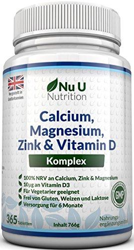 Calcium, Magnesium, Zink & Vitamin D Ergänzungsmittel – 365 Vegetarische Tabletten, Versorgung für 6 Monate des Nu U Osteo Ergänzungsmittel