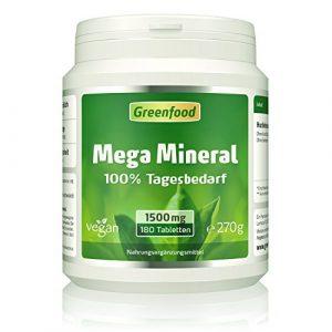 Mega Mineral, 1500 mg, 180 Tabletten, vegan – 100% Tagesbedarf Mineralstoffe & Spurenelemente, Ca und Mg im optimalen Verhältnis 2:1
