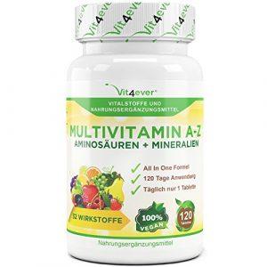 Multivitamin A-Z – 120 Tabletten – 32 Vitamine, Mineralien, Aminosäuren, Spurenelementen +Antioxidantien, 120 Tage Versorgung – Täglich nur 1 Tablette – Mulitvitamine – Vitamin C, Eisen, Vitamin E, Zink, Vitamin B3, Niacin, Magnesium, Vitamin B5, Vitamin D3, OPC, Traubenkernextrakt, Kurkuma, Glutamin, Vitamin B6, Alpha-Liponsäure, Vitamin B1, Vitamin B2, Vitamin B3, Vitamin D3, Vitamin A, Folsäure, Kupfer, Vitamin B12, Selen, Biotin … Vit4ever