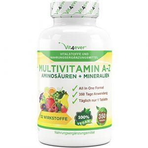 Multivitamin A-Z – 350 Tabletten – 32 Vitamine, Mineralien, Aminosäuren, Spurenelementen +Antioxidantien, – 350 Tage Versorgung – Täglich nur 1 Tablette – Mulitvitamine – Vitamin C, Eisen, Vitamin E, Zink, Vitamin B3, Niacin, Magnesium, Vitamin B5, Vitamin D3, OPC, Traubenkernextrakt, Kurkuma, Glutamin, Vitamin B6, Alpha-Liponsäure, Vitamin B1, Vitamin B2, Vitamin B3, Vitamin D3, Vitamin A, Folsäure, Kupfer, Vitamin B12, Selen, Biotin … Vit4ever