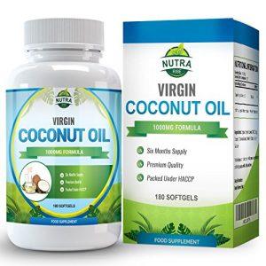 Kokosöl Kapseln, Kokosöl, Reich an MCT / Mittelkettigen Triglyceriden, Essentielle Fettsäuren für Natürliches Abnehmen, 1000mg, 180 Kapseln – Doppelt So Viel wie bei anderen Herstellern