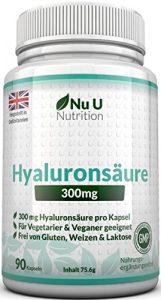 Hyaluronsäure Kapseln 300mg – 90 Kapseln (3 Monatsvorrat) – Mikro-molekulare kDa – Dreifache Stärke im Vergleich zu vielen Marken von Nu U Nutrition