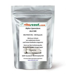 540 Kapseln Alpha Liponsäure ALA á 250mg Antioxidantien – Anti Aging – Fettverbrennung – Lipon