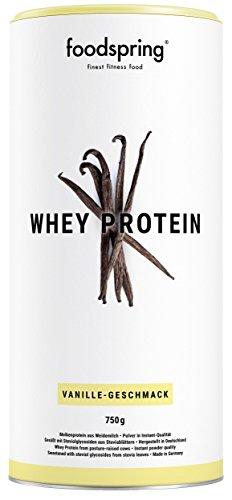 foodspring Whey Protein Pulver, Vanille, 750g, Eiweißpulver zum Muskelaufbau, Hergestellt in Deutschland mit sorgfältig ausgewählten Rohstoffen