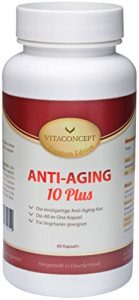 Anti-Aging 10 Plus – Die ALL IN ONE Kapsel: mikro molekulare Hyaluronsäure + Coenzym Q10 + Antioxidantien + Grüntee-Extrakt + Traubenkern-Extrakt + Pomeranzenfrucht-Extrakt + Multivitamin – Komplex + Mineralstoffe + Folsäure u.v.m Einzigartige Anti-Aging-Kur (60 Kapseln) – Verbesserte Rezeptur – MADE IN GERMANY! – Premium Edition von VITACONCEPT