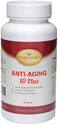 Anti-Aging 10 Plus - Die ALL IN ONE Kapsel: mikro molekulare Hyaluronsäure + Coenzym Q10 + Antioxidantien + Grüntee-Extrakt + Traubenkern-Extrakt + Pomeranzenfrucht-Extrakt + Multivitamin - Komplex + Mineralstoffe + Folsäure u.v.m Einzigartige Anti-Aging-Kur (60 Kapseln) - Verbesserte Rezeptur - MADE IN GERMANY! - Premium Edition von VITACONCEPT