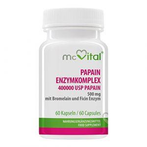 Papain Enzymkomplex – 400000 USP-E / g Papain 500 mg – mit Bromelain und Ficin Enzym – 60 Kapseln