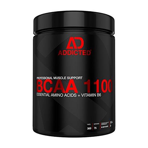 BCAA 1100 von ADDICTED® 300 Kapseln • Essentielle Aminosäuren & Vitamin B6 für Muskelaufbau und Muskelerhalt • Aminos 2:1:1 für Kraftsport | Bodybuilding | Fitness | zum Abnehmen und für Diät