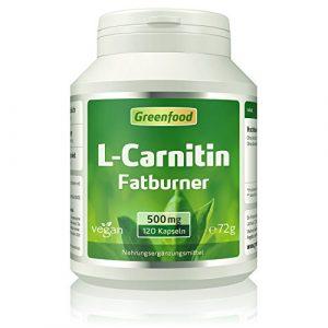 Greenfood L-Carnitin, 500 mg, 120 Kapseln, vegan – Der König der Fatburner, unterstützt Fettverbrennung , gewonnen durch natürliche Fermentation