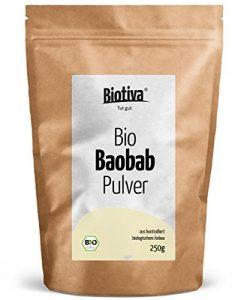 BIO Baobab-Pulver 250g – Biobaobab in Top-Qualität – Apotherkerbaum – Sehr hoher Anteil Vitamin C – Reich an Ballaststoffen, Kalium, Eisen und essentiellen Fettsäuren – Kontrolliert und abgefüllt in D