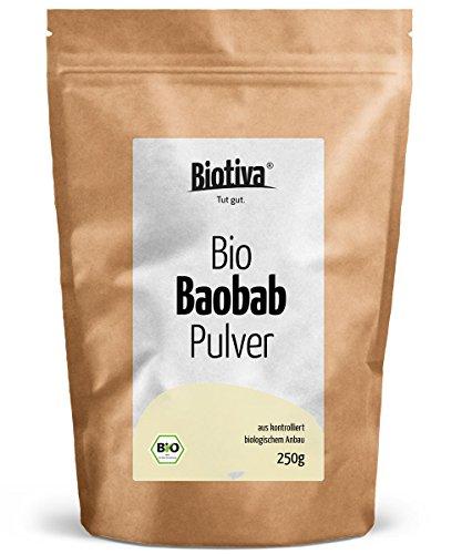 BIO Baobab-Pulver 250g - Biobaobab in Top-Qualität - Apotherkerbaum - Sehr hoher Anteil Vitamin C - Reich an Ballaststoffen, Kalium, Eisen und essentiellen Fettsäuren - Kontrolliert und abgefüllt in D