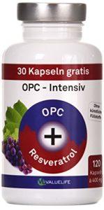 VERGLEICHSSIEGER 11/2017* OPC Kapseln Intensiv: Antioxidant Komplex hochdosiert. Traubenkernextrakt + Resveratrol. Keine Zusätze. 120 vegane Kapseln. Geprüfte Premiumqualität mit Zertifikat