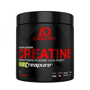 Creapure™ CREATINE Monohydrat Pulver von ADDICTED® • Kreatinmonohydrat – für ein härteres Training – schnell Muskeln aufbauen • Kreatin / Creatin zum Muskelaufbau durch ATP | Adenosintriphosphat