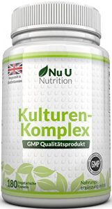 Probiotika-Kapseln 10 Milliarden KBE – für eine gesunde Verdauung – Lactobacillus acidophilus – für Vegetarier geeignet – 6-Monats-Versorgung – 180 Kapseln Nahrungsergänzungsmittel Nu U Nutrition