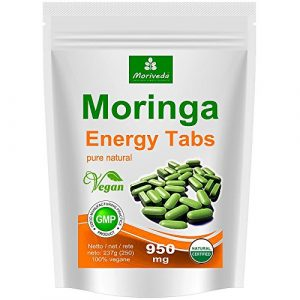 Moringa 250 Energy Tabs 950mg, 100% Natur, Vegan, hochdosiert von MoriVeda, Kapseln Tabletten Presslinge (1×250)