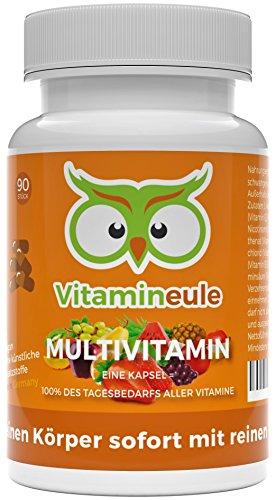 Multivitamin-Kapseln - ohne künstliche Zusatzstoffe - vegane, kleine Kapseln - Qualität aus Deutschland - 100% Zufriedenheitsgarantie - Vitamineule® - Enthält 100% aller Vitamine von A-Z!