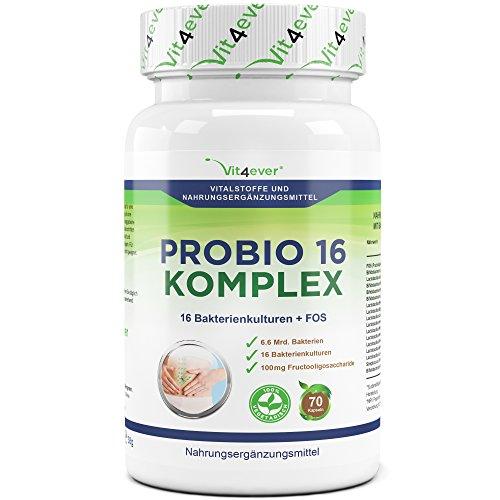 Probio 16 Komplex - 16 widerstandsfähige Bakterienkulturen + FOS - Hochdosiert mit 6.6 Milliarden Bakterien pro Tag - 70 Kapseln - Milchsäurebakterien - selektierte Bakterienstämme - Enthält Lactobacillus, Bifidobacterium und Acidophilus - vegetarisch - Vit4ever