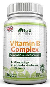 Vitamin B-Komplex – alle 8 B-Vitamine in einer Tablette – Vitamine B1, B2, B3, B5, B6, B12, D-Biotin & Folsäure – 6-Monats-Versorgung – 180 Tabletten – Nahrungsergänzungsmittel von Nu U Nutrition