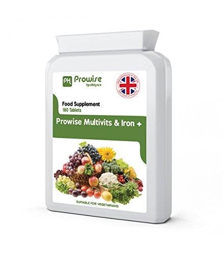 Multi Vitamins & Iron 180 Tabletten (6 Monate Dosis) - Täglich 1 Tag Multi-Vitamin Supplement - UK hergestellt nach GMP Garantierte Qualität - Geeignet für Vegetarier