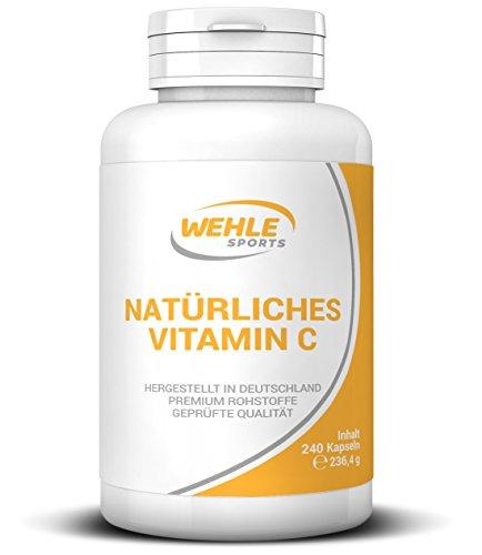 Vitamin C aus natürlichen Quellen 240 Kapseln Acerola-Extrakt und Hagebutten-Extrakt ▪ 400mg reines Vitamin C pro Tagesdosis (2 Kapseln) hergestellt in Deutschland ▪ Wehle Sports 240 Kapseln
