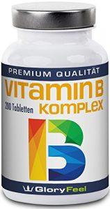 Vitamin B Komplex Hochdosiert – Der VERGLEICHSSIEGER 2018* – 200 Tabletten – Alle 8 B-Vitamine in einer Tablette Ohne Magnesiumstearate – B1 B2 B3 B5 B6 B7 (Biotin) B9 (Folsäure) und B12 – Über 6 Monte Vitamin-B von GloryFeel