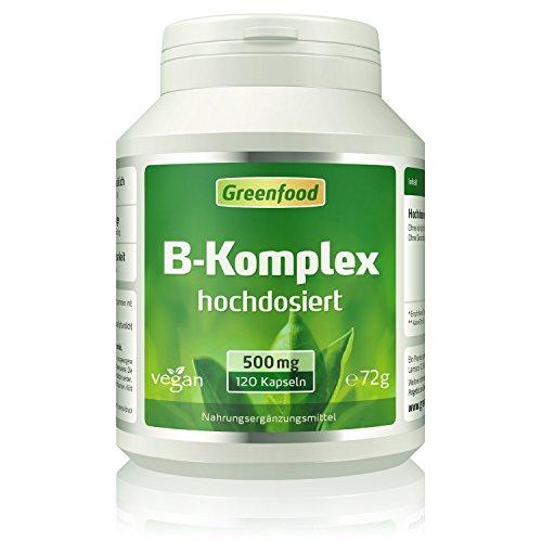 Greenfood B-Komplex 50, hochdosiert, 120 Vegi-Kapseln – alle Vitamine der B-Gruppe. Für ein gutes Gedächtnis, Konzentration und gute Laune. OHNE künstliche Zusätze. Ohne Gentechnik. Vegan.