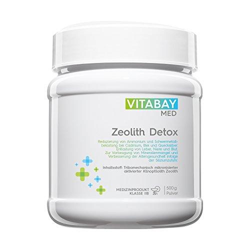 Zeolith Detox Pulver - Medizinprodukt - Tribomechanisch mikronisiert und aktiviert - 95% Klinoptilolith Anteil - zur Entgiftung, Schwermetall-Ausleitung, Leber-Reinigung, Mineralien-Mangel und Verbesserung der Altersgesundheit - 500 g