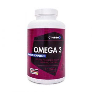 GymPro Omega 3 Fettsäuren Fischöl-Kapseln, 180 Softgel Kapseln – 1000mg