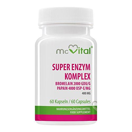 Super Enzym Komplex - Bromelain 2000 GDU g - Papain 4000 USP-E mg - 400 mg - 60 Kapseln