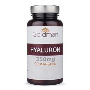 Hyaluronsäure Kapseln hochdosiert – 350 mg je Hyaluron Kapseln – 90 Stück – Anit-Aging für Haut und Gelenke – Vegan – Made in Germany – Goldman