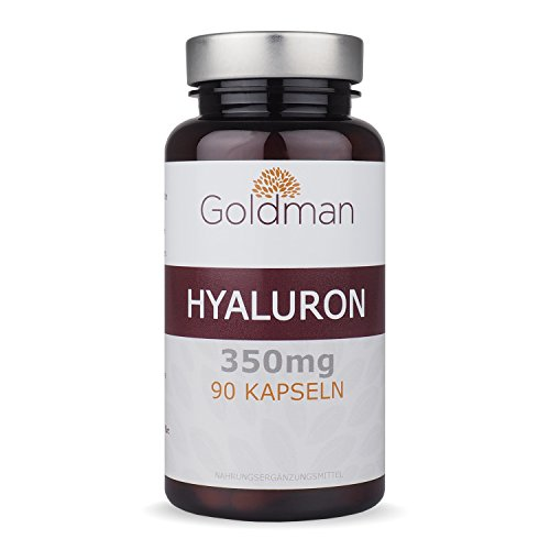 Hyaluronsäure Kapseln hochdosiert - 350 mg je Hyaluron Kapseln - 90 Stück - Anit-Aging für Haut und Gelenke - Vegan - Made in Germany - Goldman