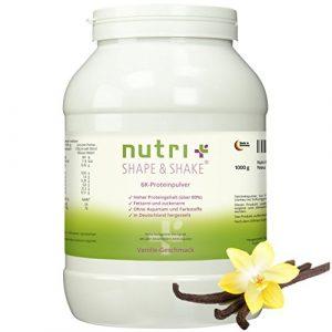Nutri-Plus Shape & Shake Vanille 1kg – Proteinpulver ohne Aspartam – Mit Whey + Casein – Dose inkl. Dosierlöffel – Low-Carb Eiweißshake