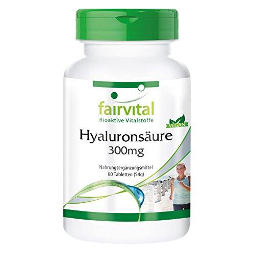 Hyaluronsäure 300mg, vegan, 60 Tabletten, hochdosiert, für die Erhaltung gesunder, starker Sehnen und Bänder