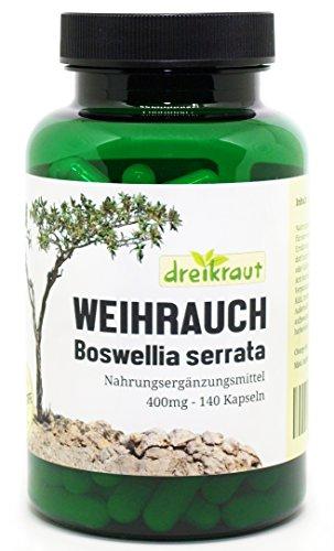 Weihrauch-Kapseln - 400mg, Boswellia Serrata, 140 Stück - hochdosiert, frei von Zusätzen, rückstandsgeprüft, 100% Indischer Weihrauch, natürlicher Entzündungshemmer, Deutsche Herstellung