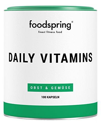 foodspring Daily Vitamins, 100 Kapseln, Multivitamin Supplement für jeden Tag, Hergestellt in Deutschland mit sorgfältig ausgewählten Rohstoffen