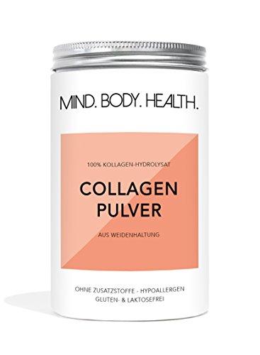 COLLAGEN Protein Pulver • MIND.BODY.HEALTH. • 100% Kollagen Hydrolysat Peptide • aus Weidehaltung • Typ 1 und Typ 2 • für Gelenke, Muskeln, Bindegewebe • ohne Zusätze • geschmacksneutral • in Deutschland hergestellt